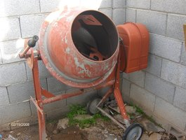 A portable cement mixer.