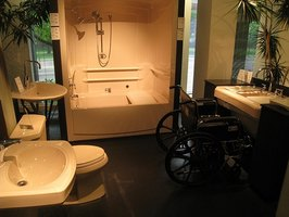An attractive handicapped bathroom should also be functional.