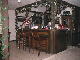 A home bar decorated for Christmas