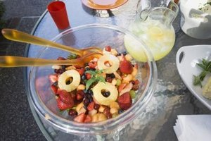 Fruit salads can contain several different fruits combined with additional ingredients.