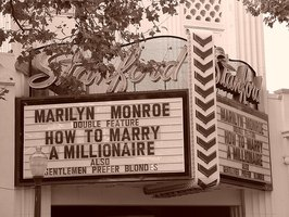 A movie marquee for two Marilyn Monroe classics