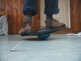 Balance board exercises train both balance and strength.