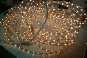 A set of clear rope lights.