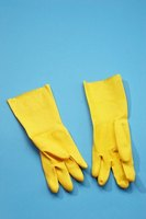 Wear plastic gloves and other protective gear when cleaning black mold.