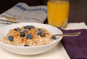 Blueberries and oatmeal