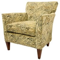 An armchair decked out in paisley.