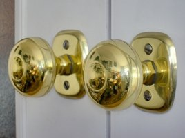 Shiny brass knobs.