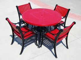 Clean metal patio furniture with an all-purpose soap solution.