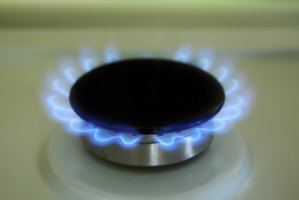 A gas ring lit for use