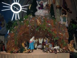 The nativity scene is a central part of Christmas decor.