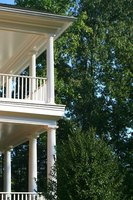This elegant version of a two-story porch provides visual guidance for a similar patio.