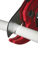 Use a PEX cutter to cut PEX pipe on a 90-degree angle.
