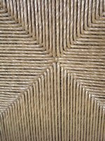 Woven fiber rush coverings show a distinctive pattern.