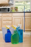 Use vinegar and water to make your own cleaning supplies.