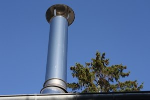 Install a metal chimney to vent a basement stove.