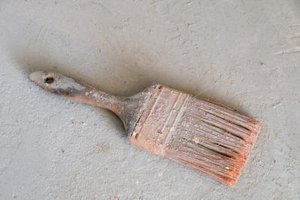 Dirty paintbrush that can be cleaned using TSP.