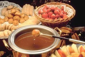 Chocolate fondue is a favorite 1960s party snack.