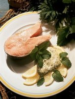 Top a salmon fillet with Dijon mustard sauce for a taste treat.