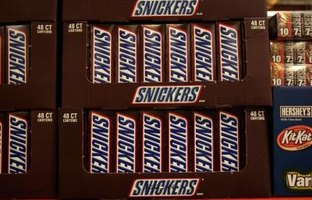 A Snickers bar contains 280 calories.