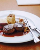 Filet mignon with red wine reduction mushroom sauce.