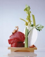 Fresh tuna steaks are usually from yellowfin or bigeye tuna, both also called ahi tuna.