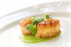 These scallops are atop a green fava bean puree.