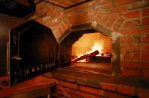 A brick pizza oven is a great way to cook a pizza.