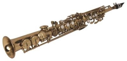 Soprano saxes are made of brass and look like gold clarinets.