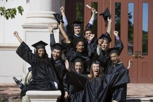 A cap and gown are trademarks of a graduation ceremony.
