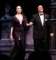 Gomez, as portrayed by Nathan Lane on Broadway, wears a mustache and dark suits.