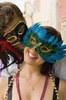 Mardis Gras costumes can be as simple as a face mask and beads, but can also be more involved.