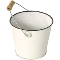 Filling a bucket with a cleaning solution will make cleaning water marks from walls easier.