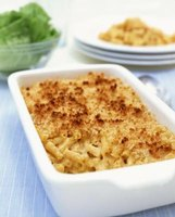 Baked macaroni and cheese is a favorite comfort food dish.