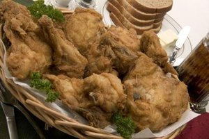 Properly breaded chicken will not lose its coating when it is fried.
