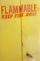 Flammable liquids should live in a flammable cabinet for safety.