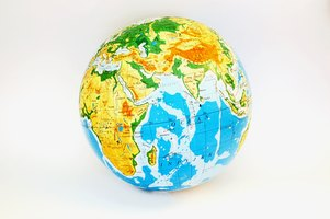 Making a globe out of a ball is a fun project to do with kids.