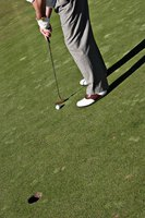 An example of white golf shoes with a brown saddle