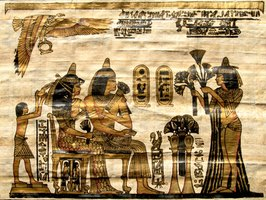 Reproduction of a painting on an Egyptian papyrus scroll