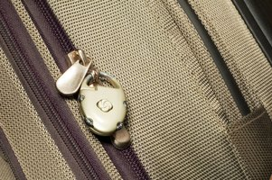 Put the combination lock through the two zipper pull holes.