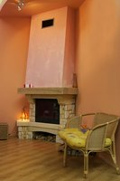 The mantel, while decorative, requires precise planning for a safe hearth area.