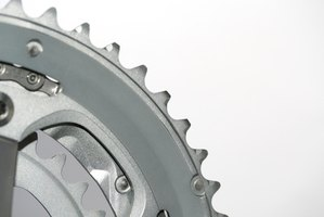Chainrings on a bicycle crankset.