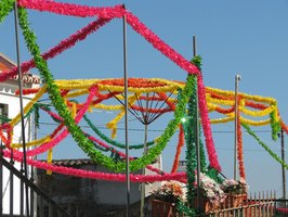 During fiestas, the towns of Mexico are decorated.