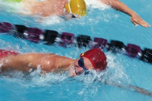 Competitive swimmers wearing goggles race in swimming pool lanes.