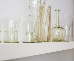 Glassware will stick to a shelf if the paint is not completely dry.