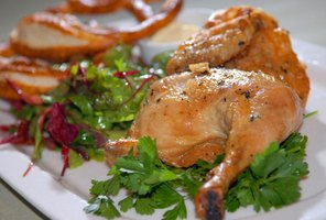 Serve half a roast chicken per person for a substantial meal.