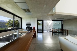 Some modern homes have stained concrete floors instead of hardwood or carpet.