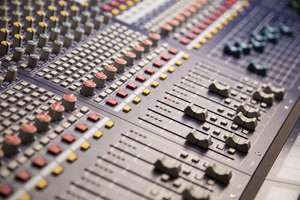 A close-up of a sound board.