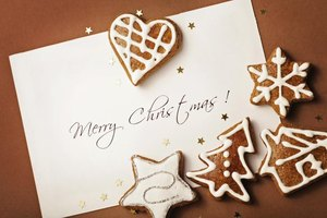 Christmas card with gingerbread cookies.