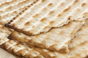 A close-up of traditional Matzo crackers.