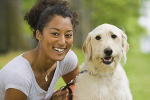Woman smiling with a happy dog in a park.